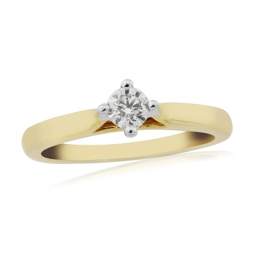 Solitaire Single Stone Four Claw Engagement Ring Yellow Gold 25 Points